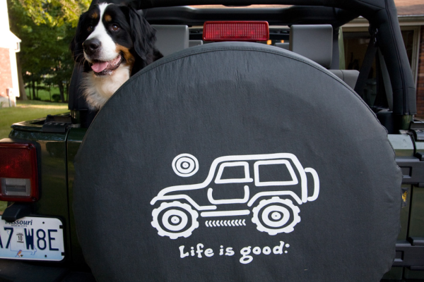 life is good tire covers dogs. Black Bedroom Furniture Sets. Home Design Ideas