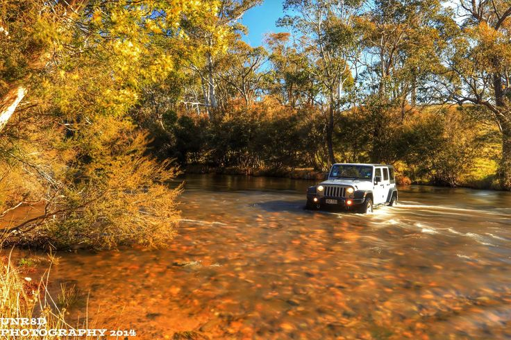 jeep water crossing fall autumn wrangler